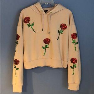 Top shop crop sequin sweatshirt hoodie